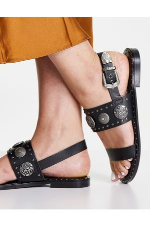 Replay Mujer Planas - 2 strap sandals with coin details in black