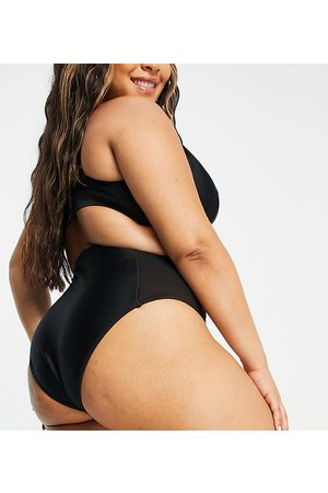 Wolf & Whistle Exclusive high waist bikini bottom with mesh inserts in black