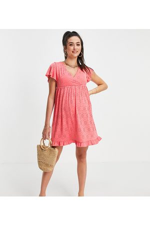 Mama Licious Mamalicious Maternity wrap front mini broderie dress in pink