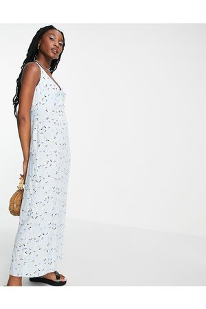 Style Cheat Knot front slip dress with split in blue ditsy floral
