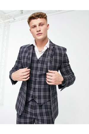 ASOS Super skinny suit jacket in oxford check in charcoal