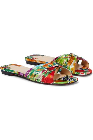 Christian Louboutin Mujer Planas - Nicol Is Back floral silk-satin sandals