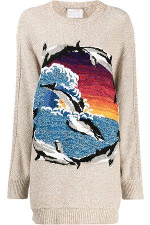 Stella McCartney Mujer Suéteres - Suéter oversize con motivo de delfines en intarsia