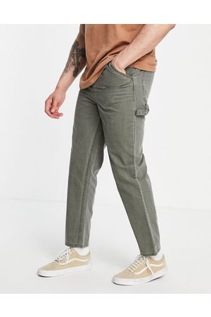 ASOS Skater fit trousers with carpenter pockets in washed khaki
