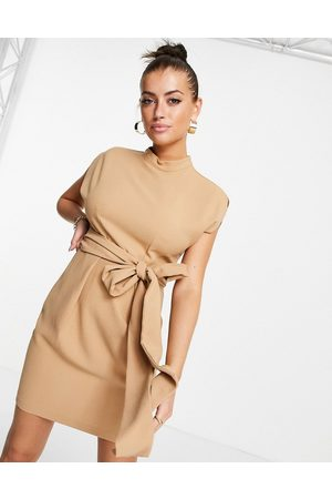 Closet Belted tie waist mini dress in sand