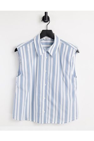 & OTHER STORIES Organic cotton sleeveless shirt with shoulder pads in blue stripe