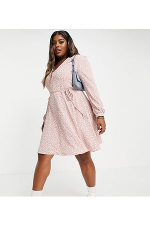 Glamorous Curve Tie waist swing dress in pink ditsy floral