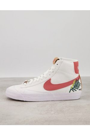 Nike Blazer Mid 77 Move To Zero trainers in white and burgundy with floral embroidery