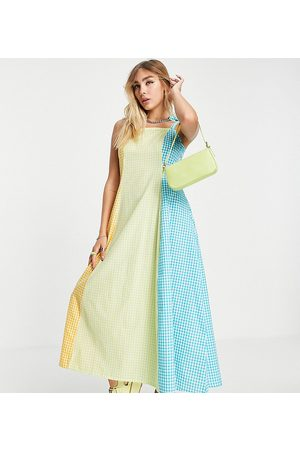 Native Youth Maxi cami dress in panelled gingham with shoestring tie straps