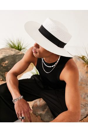 ASOS Wide brim pork pie straw hat in white with black band and size adjuster