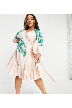 ASOS Curve embroidered wrap mini dress with tiered hem in candy pink