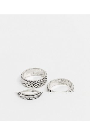 ASOS 3 pack band ring set with embossing in burnished silver tone