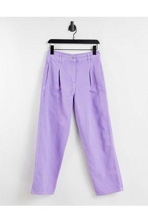 Bolongaro Barrel leg workwear denim trouser in lavender
