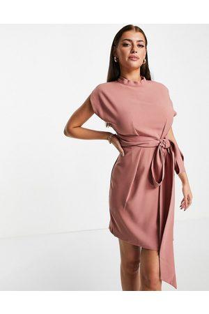 closet london Belted tie waist mini dress in rose pink