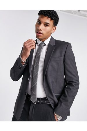 ASOS Hombre Sacos - Slim suit jacket in charcoal