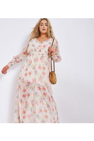 Simply Be Mujer Maxi - Button through maxi dress in cream floral print