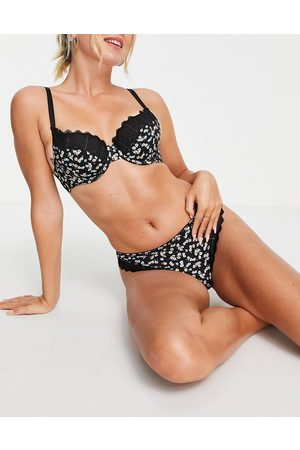 ASOS Mujer Con relleno - Amaya ditsy floral & lace padded bra in black
