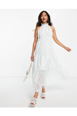 Lost Ink Midaxi halterneck dress with tiered skirt in ditsy floral
