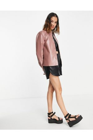 VILA Faux leather shirt in pink