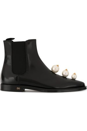 Dolce & Gabbana Botas chelsea con detalle de perlas artificiales