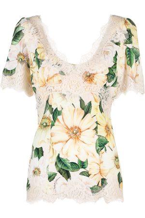 Dolce & Gabbana Mujer Tops - Top con estampado de camelias