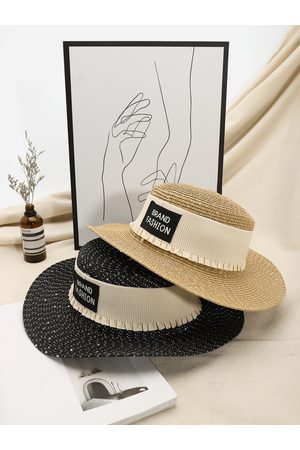 YOINS Letter Print Pleated Design Straw Hat