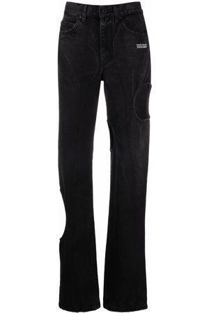 OFF-WHITE Jeans rectos con detalles de agujeros