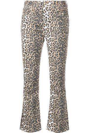 R13 Jeans acampanados con estampado de leopardo