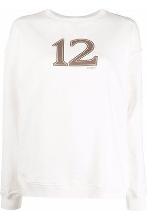 12 STOREEZ Mujer Sudaderas - Logo-print cotton sweatshirt