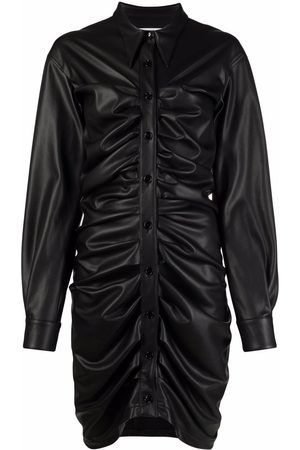 Serafini Ruched leather-effect leather shirtdress