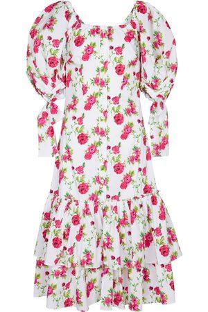 Caroline Constas Nella floral cotton-blend midi dress