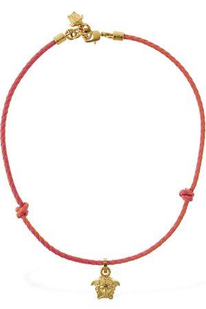 VERSACE Collar De Cadena De Piel Con Colgante De Medusa