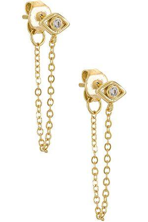 Shashi Pendientes violet chain en color oro metálico talla all en - Metallic Gold. Talla all.