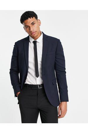 Topman Super skinny single breasted suit jacket in navy