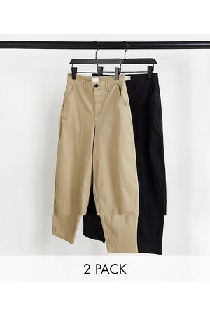 ASOS DESIGN 2 pack oversized tapered chinos in brown and black save