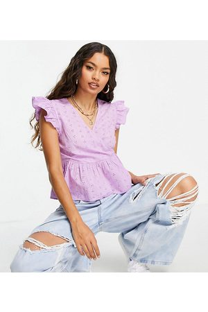 Pieces Petite Organic cotton peplum broderie top in lilac
