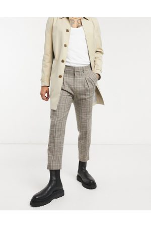 ASOS Tapered cropped smart trousers in check with double pleat