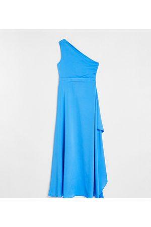 TFNC Petite Bridesmaid one shoulder maxi dress in cobalt blue
