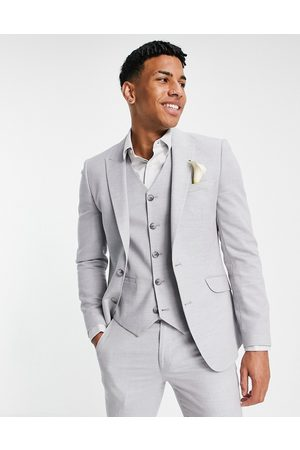 ASOS DESIGN Wedding super skinny suit jacket in ice grey micro texture