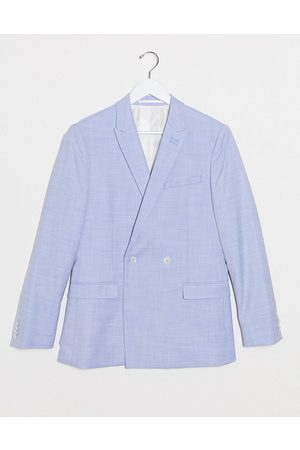 Topman Skinny double breasted suit jacket in blue