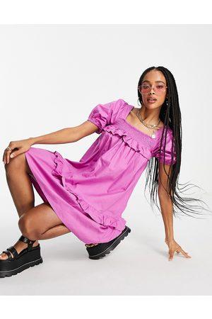 VIOLET ROMANCE Cotton poplin smock dress in purple
