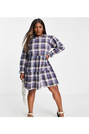 Wednesday's Girl Curve Mini smock dress with tiered skirt and collar in vintage check