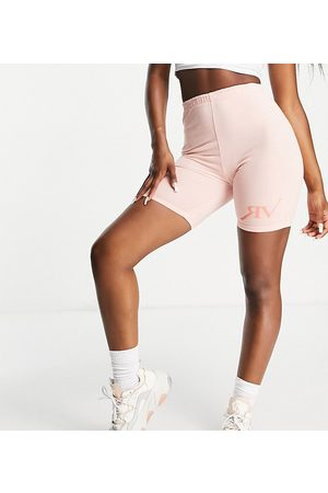 Reclaimed Vintage Inspired legging shorts with logo in peach