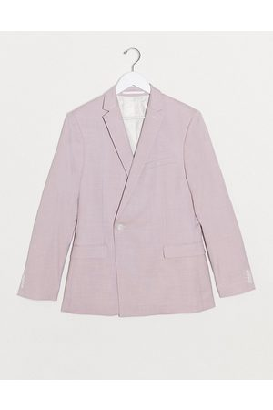 Topman Super skinny double breasted suit jacket in lilac