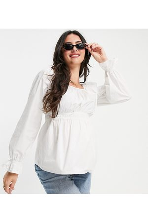 Pieces Maternity Peplum smock blouse in white