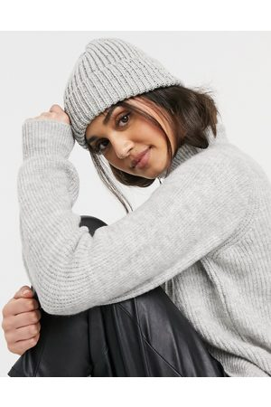 ASOS Recycled blend chunky neppy beanie with deep turn up in grey