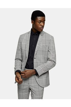 Topman Super skinny single breasted suit jacket in grey check