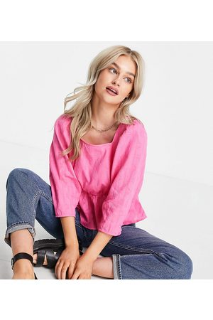 Y.A.S Organic cotton square neck pephem top in bright pink