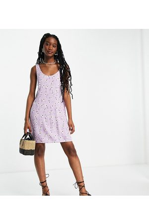 Pieces Exclusive mini shift dress in lilac ditsy floral