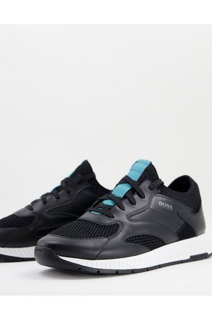 Boss Titanium Runn leather trainers with lightweight sole in black